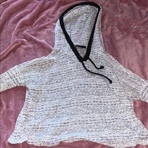 Gray crop top hoodie w black trim